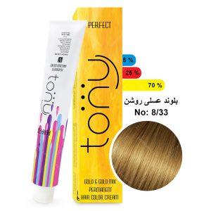 رنگ مو تونی مدل بلوند عسلی روشن شماره 8,33