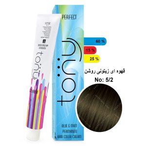 رنگ مو تونی مدل قهوه ای زیتونی روشن شماره 5,2