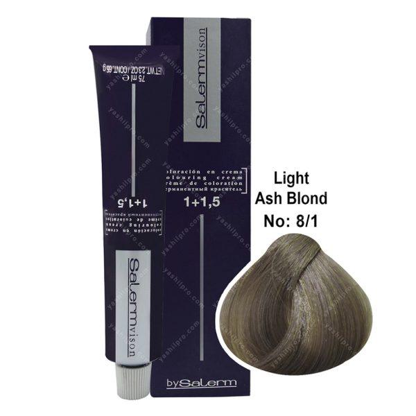 رنگ مو سالرم مدل بلوند خاکستری روشن شماره 8,1