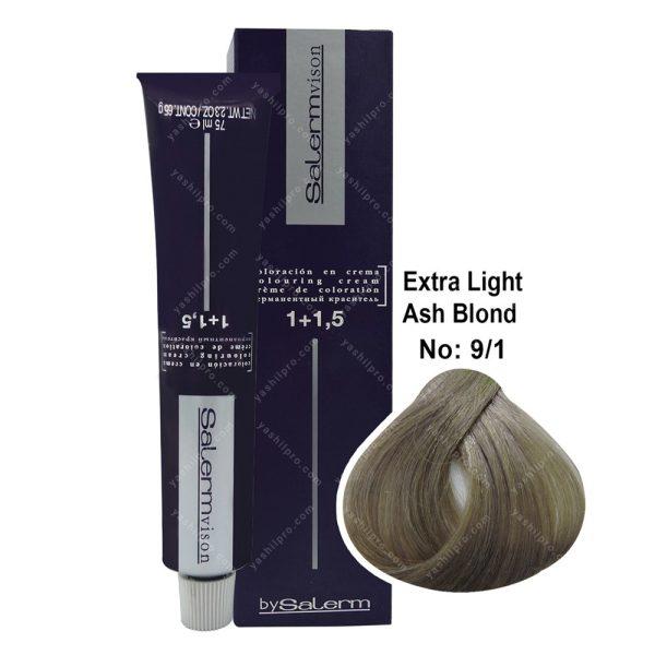 رنگ مو سالرم مدل بلوند خاکستری خیلی روشن شماره 9,1