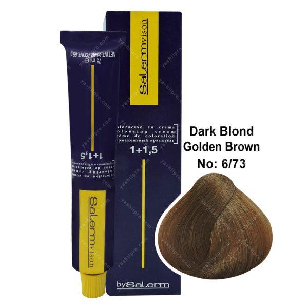 رنگ مو سالرم مدل قهوه ای طلایی بلوند تیره شماره 6,73