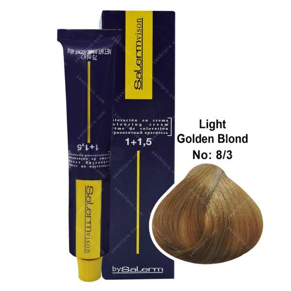 رنگ مو سالرم مدل بلوند طلایی روشن شماره 8,3