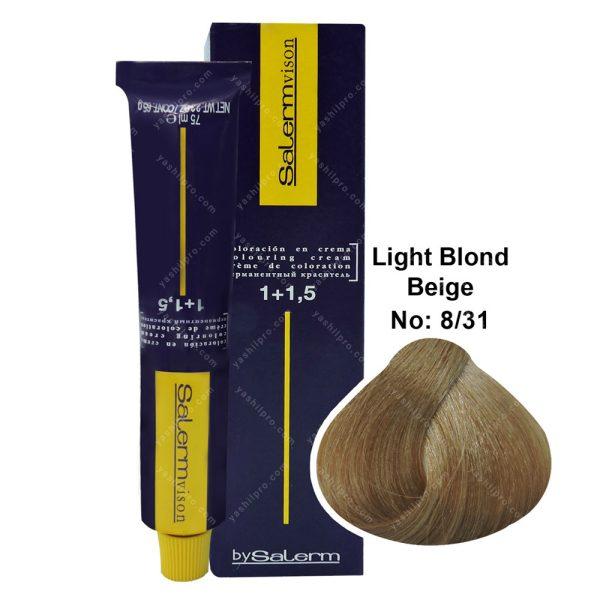 رنگ مو سالرم مدل بلوند بژ روشن شماره 8,31