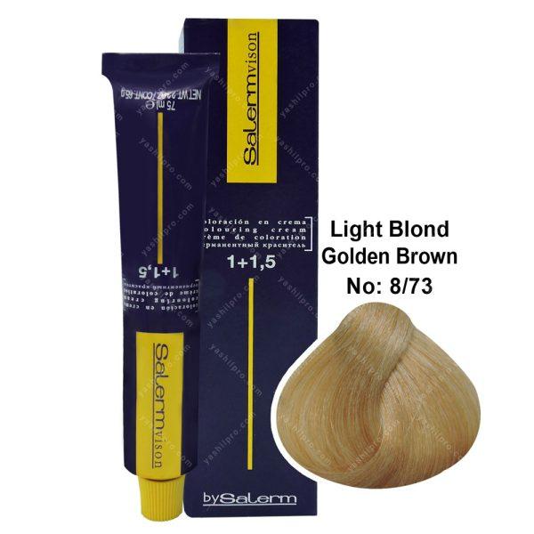 رنگ مو سالرم مدل قهوه ای طلایی بلوند روشن شماره 8,73