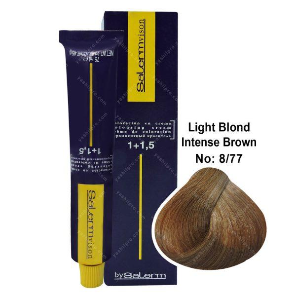 رنگ مو سالرم مدل بلوند فندوقی روشن قوی شماره 8,77